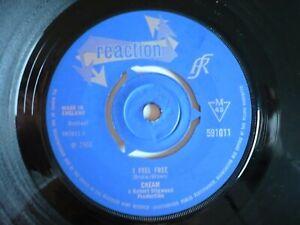 """Cream I Feel Free 7"""" Vinyl UK 1966 Reaction 1st Press A1/B1 3 Prong Mono Single"""