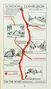 ,AYOT GREEN,WELWYN,WOOLMER GREEN Original Antique Pictorial Road Map c1920