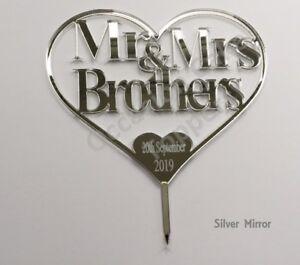 Personalised Wedding Cake Topper Mr & Mrs Surname Heart Shaped Keepsake
