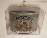 """New VTG Desk Clock In A Can Novelty Soccer Tin Can """"It's All About Soccer"""""""