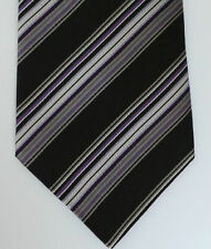 Paul Smith Tie Purple & Black Stripes MADE IN ITALY