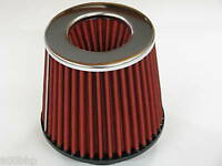 "Performance High Flow Cone Air Filter (100mm) 4"" Inch Neck Diameter RED/CHROME"