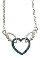 Collier, pendentif Coeur et ailes d'ange strass Cristal Turquoise, T5.