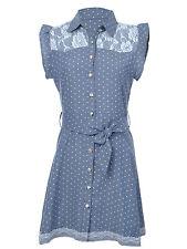 Women's S/M Fit Faded Blue White Mini Polka Dot Rose Print Lace Neckline Dress
