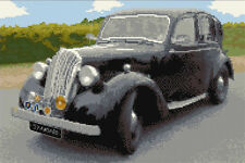 "AUTO standard, 1930's Classic AUTOMOBILE-CROSS STITCH KIT 12 ""x 8"" - 16 count Aida"