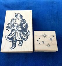 Lot Of 2 Psx Rare Rubber Stamping Embossing Stamps Santa Claus & Snowflake Stars