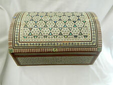 "Egyptian Mother of Pearl Wooden Inlaid Jewelry Box 13.5 X 9""  Exceptional # 527"