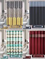New Modern 4Pc Bathroom Complete Bathmat Shower Curtain SET Hooks Rugs