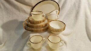 Fire King white swirl with gold trim 4 place setting with cream, sugar & platter
