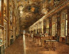 "Canvas Print Oil painting European Museum Interior Scene on canvas 16""x20"" L1198"