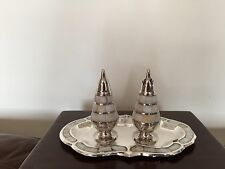 BEAUTIFUL SILVER PLATED AND MOTHER OF PEARL CRUET SET ON A SIMILAR TRAY (NR 2)