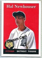 HAL NEWHOUSER DETROIT TIGERS 1958 STYLE CUSTOM MADE BASEBALL CARD BLANK BACK