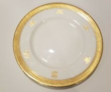 OLD Antique 24K Gold Royal Porcelain Royalty Cipher Monogram Dish Plate Charger