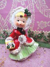 Vtg NAPCO Red Holly Berry Christmas Shopper Girl W To Market Basket AX2750/GB
