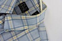 Jos A Bank Mens Soft Dress Shirt Size Large Blue Plaid Button Front Long Sleeve