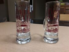 Shot Glasses Delta Belle Schnapps. 2Pcs. Barware. Collectible Glass Advertising