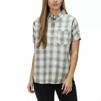 The North Face Women's Tanami Shirt Gray Buffalo Plaid Short Sleeve Size M NWT