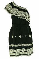 Beltaine Women's Eyelet One Shoulder Above Knee Dress Black