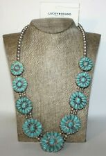 NEW LUCKY BRAND NECKLACE BLUE STONED FLOWERS WRAPPED WITH BEADS: SILVER/BLUE