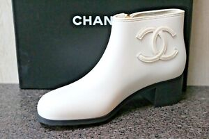 NIB Classic CHANEL LOGO Ivory Rubber Ankle Short Rain Zip Booties BOOT Shoes 40
