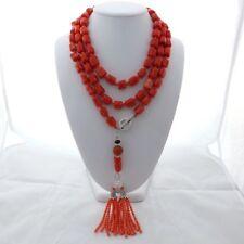 """65"""" Orange Coral Nugget Tassel Long Necklace"""