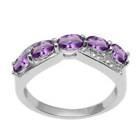 Amethyst With White Topaz Gemstone 925 Sterling Silver Half Eternity Band Ring