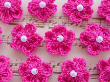 100! Crochet Wool Flowers With Pearls - Fuchsia Pink Flower Embellishments!