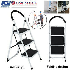 Folding 3/2/1 Steps Ladder Step Stool 330 lbs Capacity Load Heavy Duty Non-slip