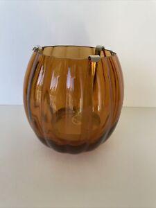 Bath & Body Works Amber/Orange Glass PUMPKIN Single Wick Candle Holder