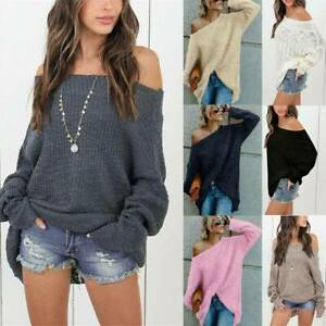Oversized Ladies Off The Shoulder Ladies Chunky Knitted Jumper Baggy Sweater Top
