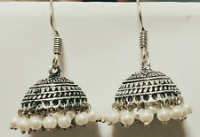 Silver Oxidised Traditional Fashion Earrings Jhumkas Jewellery-Ideal Gift -White