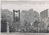 Marie Antoinette Guillotinée 1793 Veuve Capet Révolution Française Paris Gravure