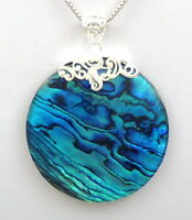 Blue Natural Paua Abalone Shell 925 Sterling Silver Pendant Women Jewelry SB082