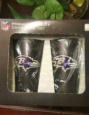 Baltimore Ravens Black Matte 16 oz  Glass Tumblers (2pk) - NFL