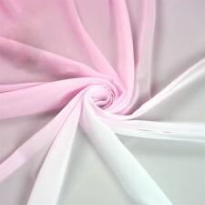 2M Pink White Shade Gradual 3D Chiffon Fabric Dancing Wedding Dress DIY