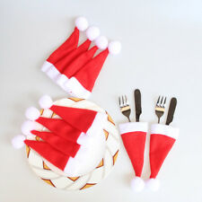 10PCS Christmas Caps Cutlery Holder Fork Spoon Pocket Xmas Christmas Decor Bag