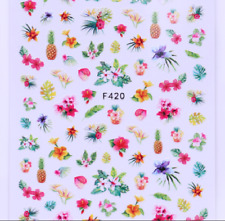 2 Sheets 3D Nail Stickers Flower Fruit Pattern Manicure Nail Art Transfer Decals