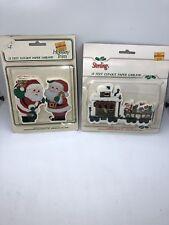 Vtg Sterling Santa's Train & Santa Claus Holiday Trim Paper Garland 12 Ft Ea Mip
