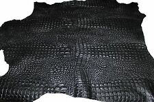 Italian Goatskin leather skins hides BLACK ALLIGATOR CROCODILE EMBOSSED 4+sqf