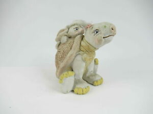 "Vintage LIFELIKE Porcelain Turtle 4.5"" Mom & Baby Signed"