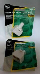 2 GE Duplex Wall Jack Adaptor WHITE TL26522 New In Package