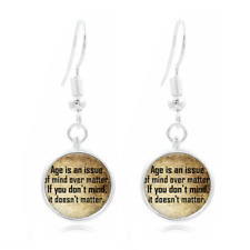 Birthday quote Glass Dome Earrings Art Photo Tibet silver Earring Jewelry #59