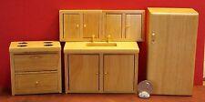 Dollhouse Miniature Modern Oak Kitchen Set 1:12 one inch scale E2 Dollys Gallery