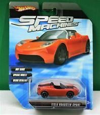 2009 Hot Wheels Speed Machines Tesla Roadster Sport Burnt Orange Special Wheels