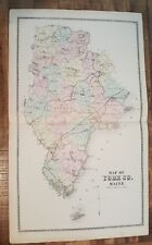 Antique Colored MAP OF YORK COUNTY, MAINE - / Atlas York County, ME - 1872