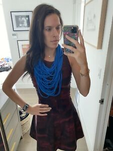 SAAKO Knit Jersey Fabrication Handmade Statement Cobalt Blue Necklace
