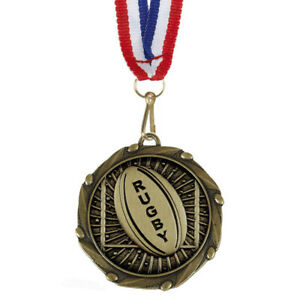 Rugby Medals with Ribbon - Engraved FREE your message - Free P+P