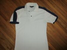 vtg 1970s 80s Robert Bruce Terry Cloth Shirt White Red Blue Polo Small/Xs
