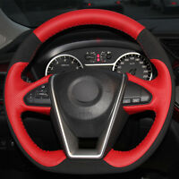 DIY Top Leather Steering Wheel Hand-stitch on Wrap Cover For Nissan Maxima 2016