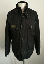 Mens Barbour International Black Waxed Motorcycle Bikers Jacket - Size Large